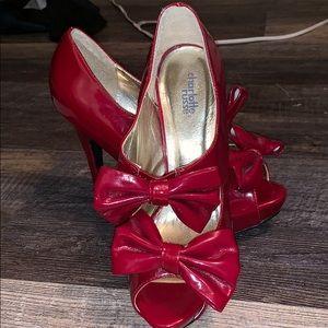 """6"""" Open Toe Red Heels"""